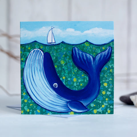 Big Blue Whale  Greetings card by Joanne Wishart Draw the oceans challenge