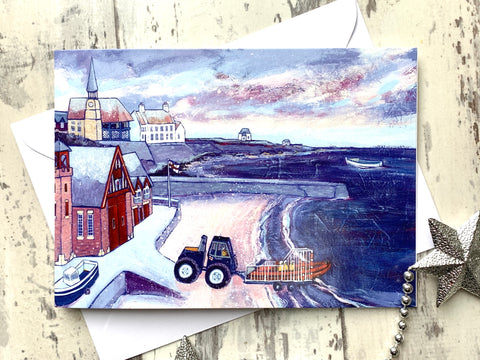 Cullercoats RNLI Christmas Card by Joanne Wishart