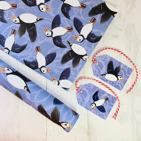Puffin Gift wrapping paper and matching labels by Joanne Wishart