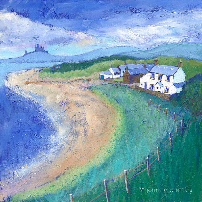newton by the sea northumberland picture print painting joanne wishart  north east gallery