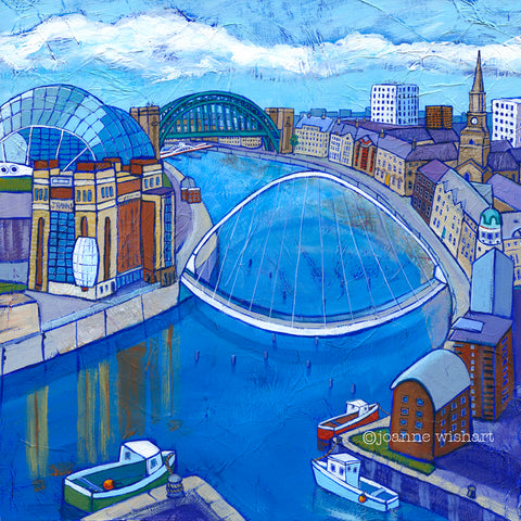 Newcastle upon Tyne, River Tyne painting, print, Tyne bridge, Baltic, Sage, quayside