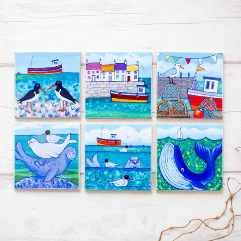 Ceramic coaster gift set seaside harbour designs by Joanne Wishart