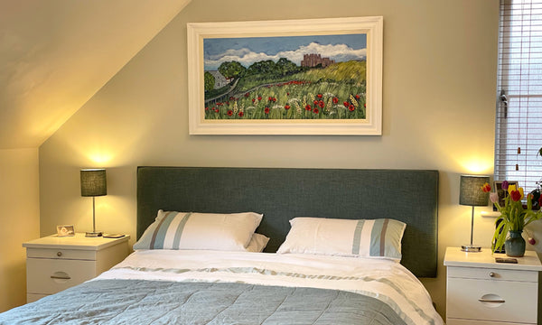 Bamburgh painting by Joanne Wishart in customers home