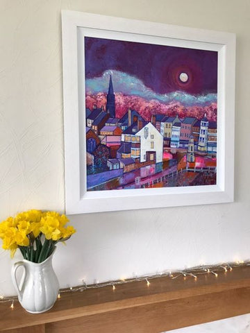 Tyenmouth painting by Joanne Wishart in a customers home.