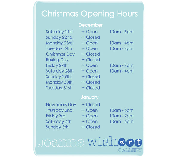 Joanne Wishart Gallery - Christmas Opening Times