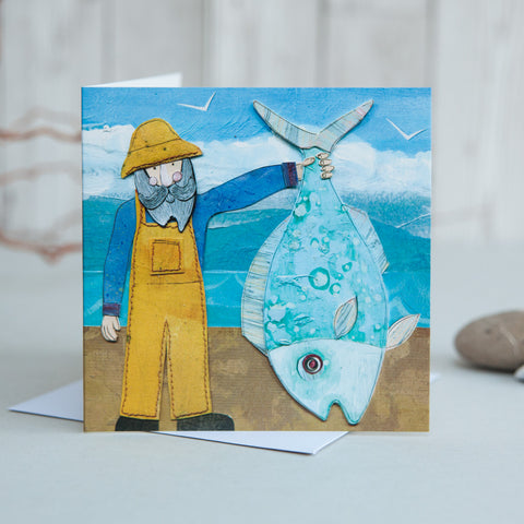 Fisherman card coastal greetings card joanne wishart scottish greetings card wholesale greetings card publisher