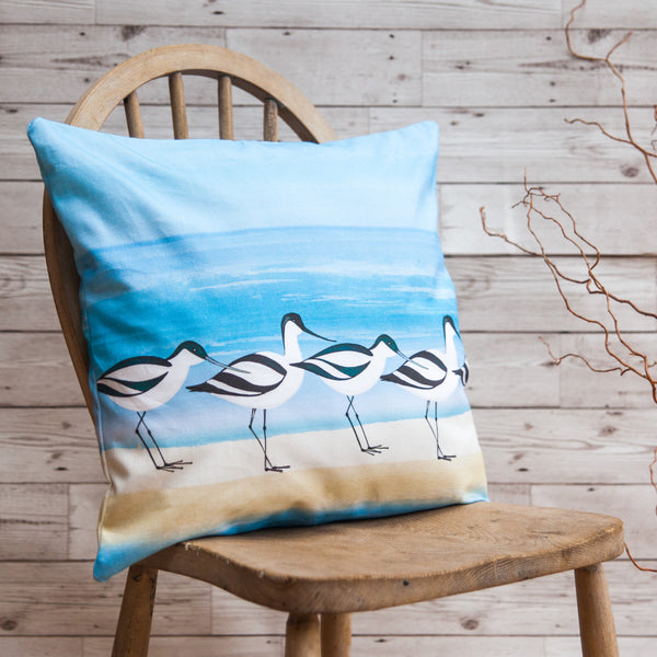 Avocet cushion mothers day gift joanne wishart gallery north east gifts bird art pillow