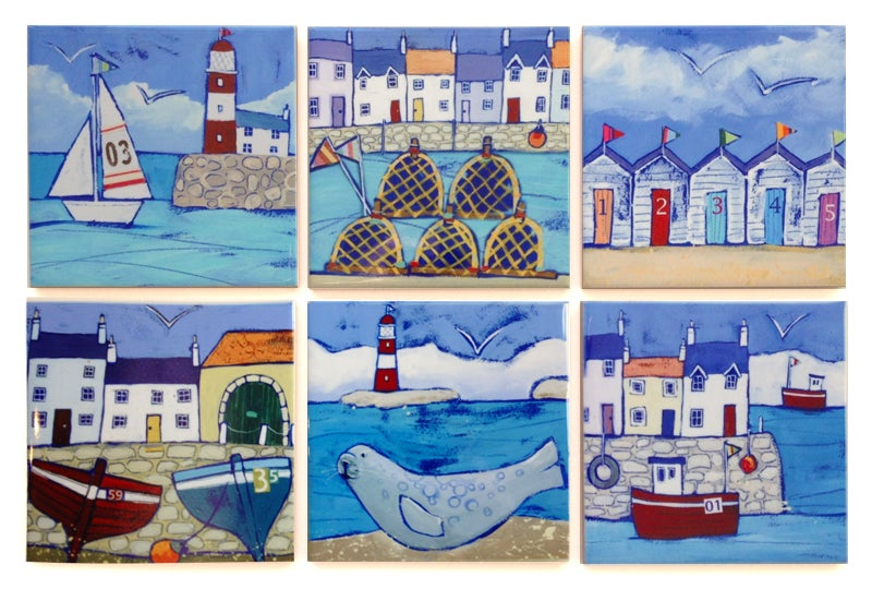 6 Seaside Ceramic Coaster Set