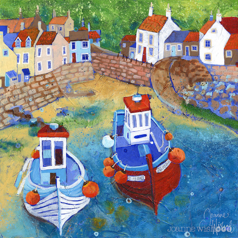 An art print of fishing boats in Staithes harbour.