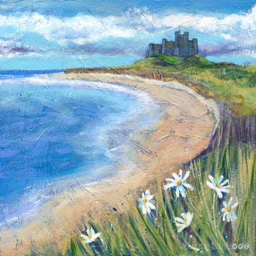 Sweeping sands of Bamburgh Beach with Castle  perched on top of the dunes  is captured in this Northumberland print by artist Joanne Wishart.