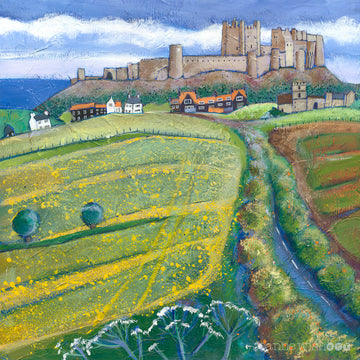 A striking painting of Bamburgh Castle with bright yellow flowered fields in the foreground and road sweeping into the village.