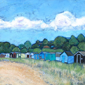 A print of the old beach huts and sheds on Coldingham Bay beach.
