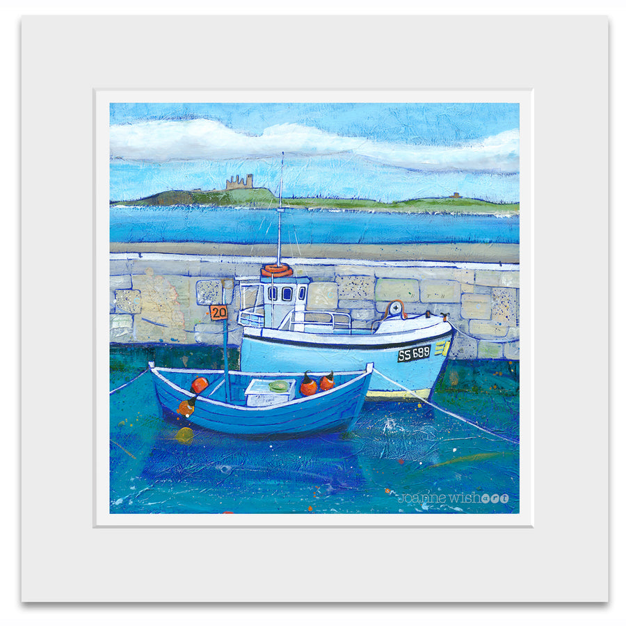 A mounted fine art print of Beadnell harbour in Northumberland.
