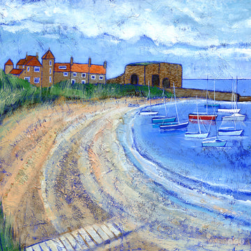 A fine art print of Beadnell Bay and the lime kilns in Northumberland.