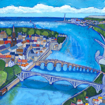A fine art print of Berwick upon Tweed and the old and new bridge.