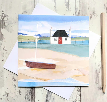 Blackhouse and Boat Greetings Card