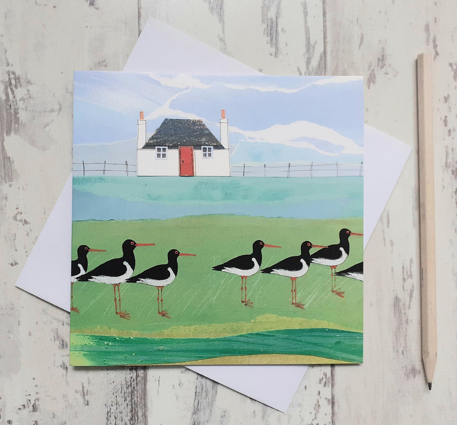 Blackhouse and Oystercatchers Greetings Card
