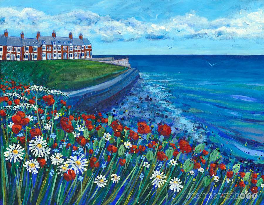 Browns bay in cullercoats is depicted in this brightly painted picture featuring a swathe of wildflowers in front of the deep blue sea.