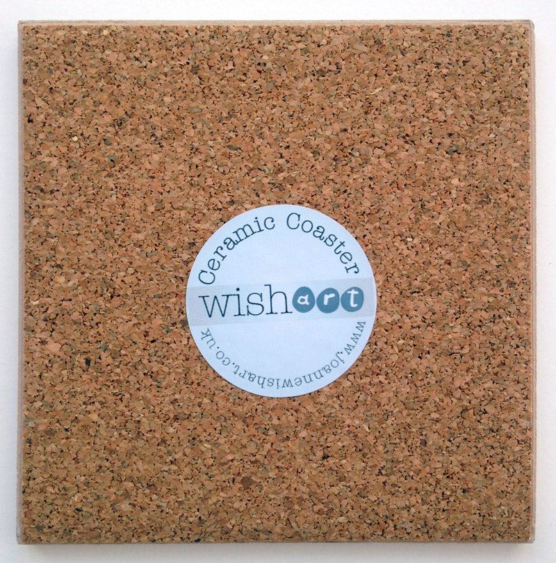 The cork back of a ceramic coaster.