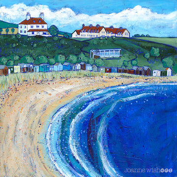 A colourful print of Coldingham Bay featuring a sandy beach and row of colourful sheds and beach huts nestled at the bottom of the hillside.