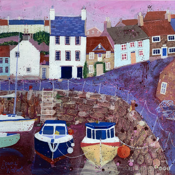 A fine art print of Crail Harbour in fife with purple and pink tones.
