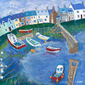 An art print of the colourful fishermen cottages and boats in the harbour village of Craster, Northumberland.