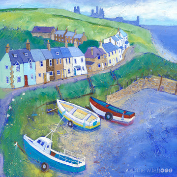 A summery picture of Craster harbour with dunstanburgh castle in the distance. Painted by local artist Joanne Wishart