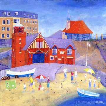 A fine art print of Cullercoats Harbour day featuring the iconic lifeboat station.