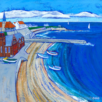 Cullercoats Art print featuring the RNLI lifeboat station and a sweeping curve of sand and coble fishing boats.