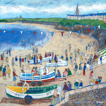 a fine art print of a bustling harbour day scene at Cullercoats Beach.