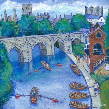 A fine art print of Durham showing the rowing boats on the river and the Cathedral in the background.