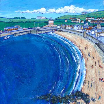 a print of Eyemouth beach featuring Gunsgreen house and the harbour in the distance.