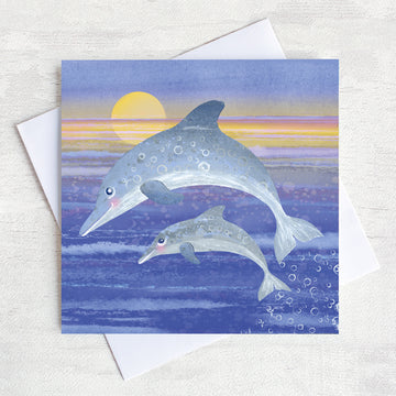 A nostalgic seaside greetings card designed by Joanne Wishart, featuring a leaping dolphin and her young splashing out of the water in front of an evening sunset.