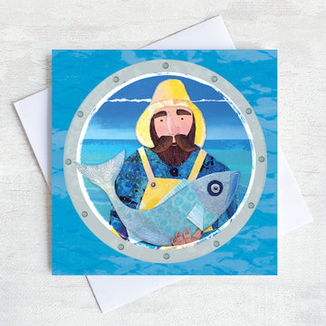 Beardy Fisherman holding a fish design on a greetings card.