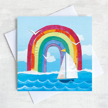 A Greetings Card featuring a Sailing Boat and a rainbow.