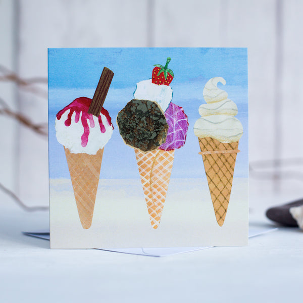 A coastal greetings card featuring 3 delicious ice creams with a chocolate flack and monkeys blood.