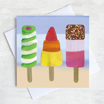 A greetings card featuring ice lollies twister, fab and rocket.