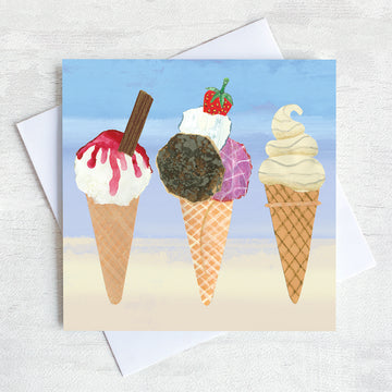 A greetings card featuring 3 delicious ice cream cones.