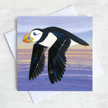 A quirky greetings card featuring a flying puffin gliding over the sea in the evening light.