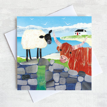 A friendship greetings card featuring a sheep and a highland cow chatting on an old stone wall.