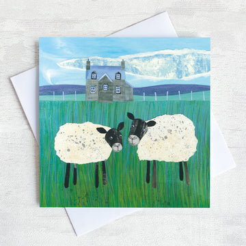 A friendship greetings card featuring two sheep chatting in a field on a scottish farm.