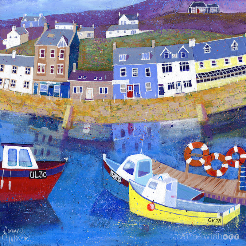 a fine art print of Loch tyne harbour and colourful boats.