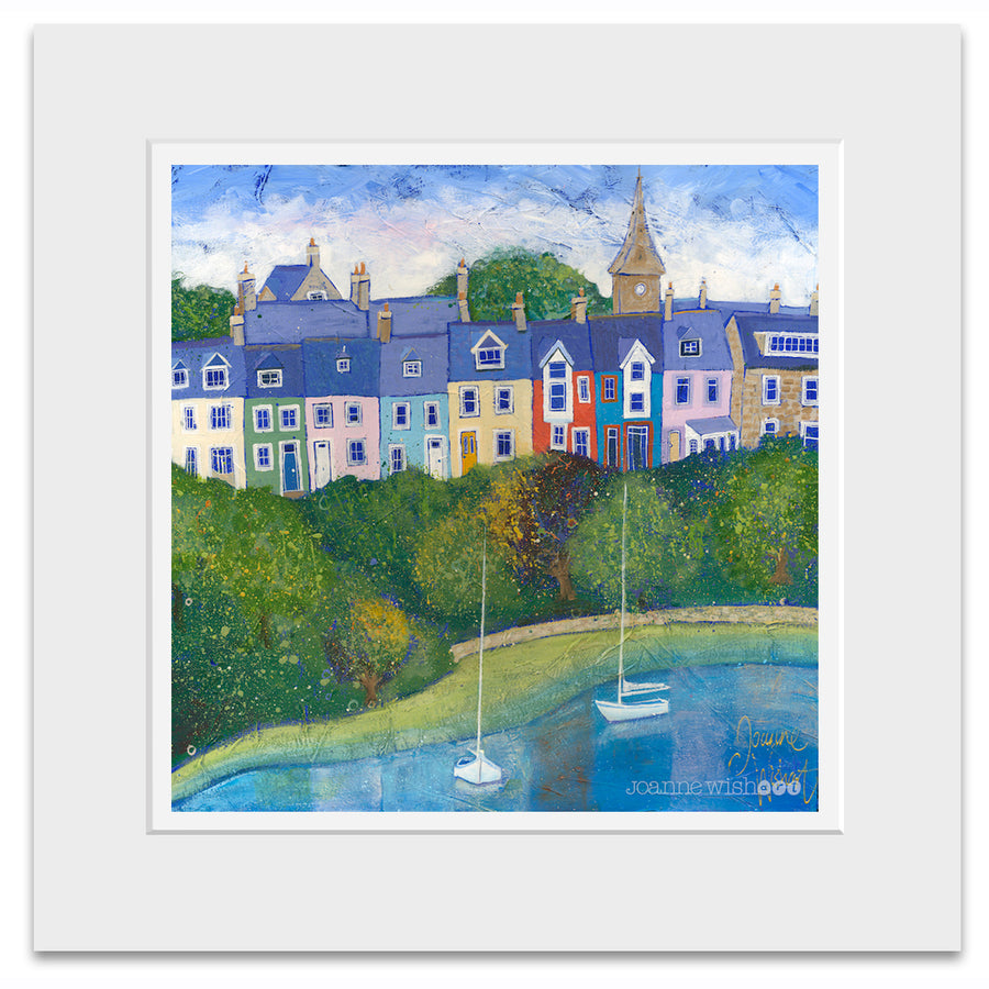 A mounted print of Lovaine terrace in Alnmouth Northumberland.
