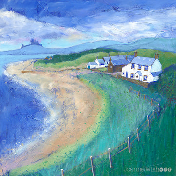 A beautiful summery art print of Low Newton Beach with dunstanburgh Castle in the distance. Painted by artist Joanne Wishart
