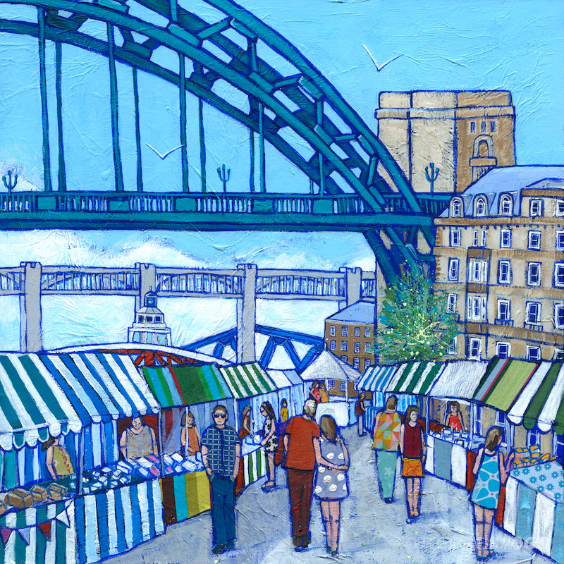 A vibrant and colourful print of Newcasltes quayside market featuring people and stalls and the Tyne Bridge.