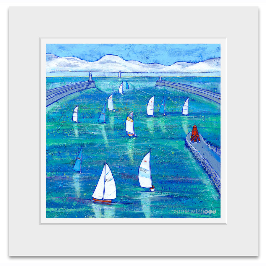 A mounted print of sailing boats on the river tyne.