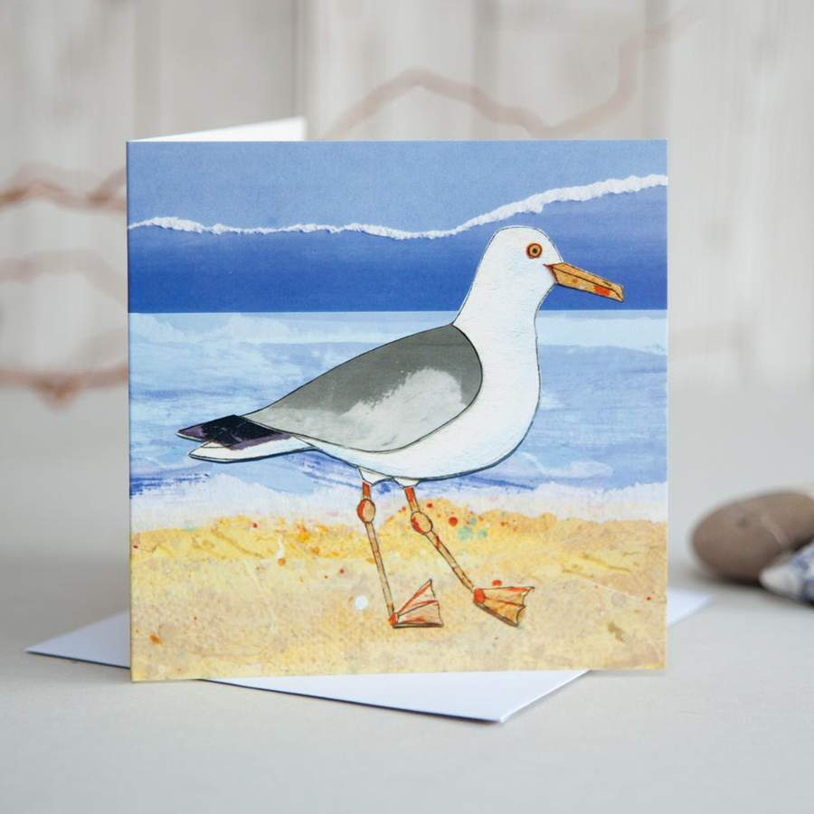 Seagull on Beach Card