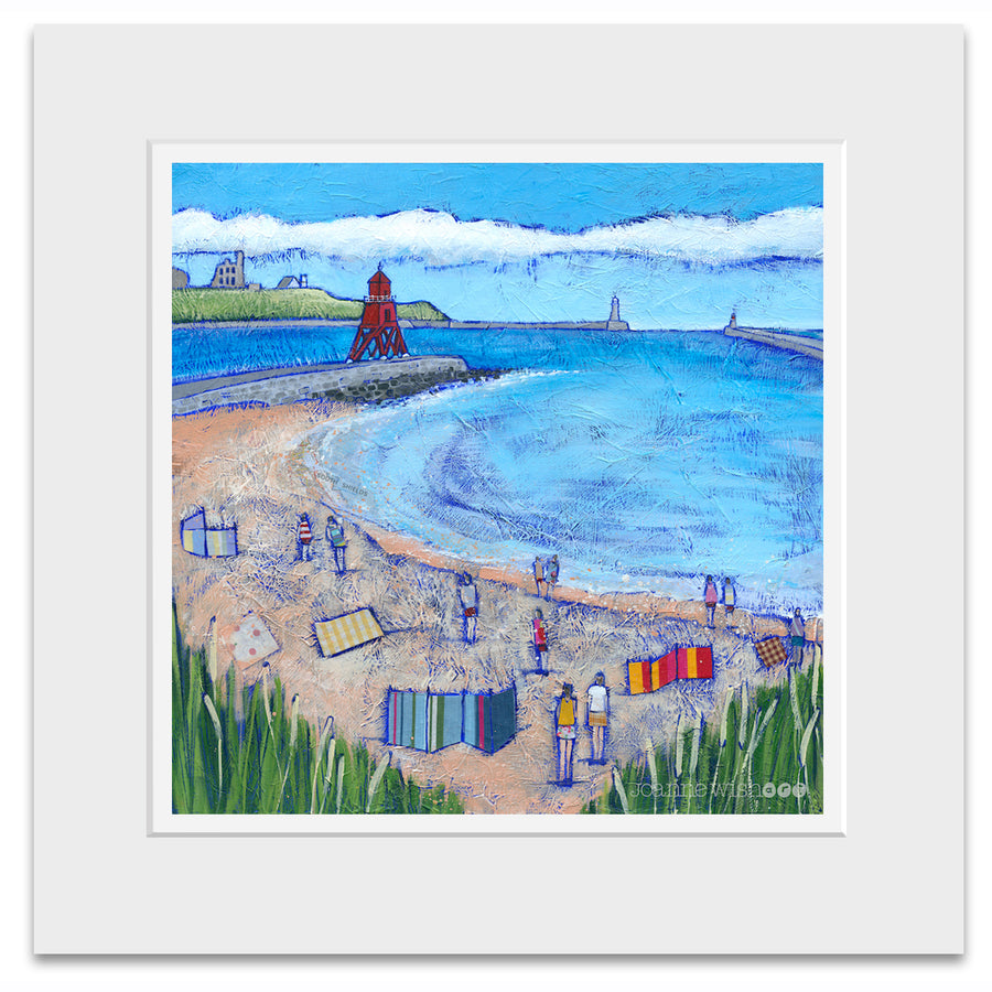 A mounted print of South Shields Beach and Groyne.