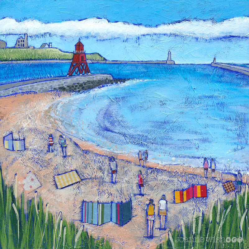 A fine art print of south shields beach and groyne.