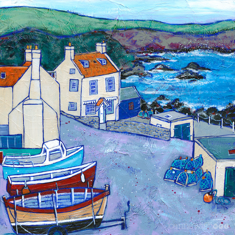 a print of the fishing boats and cottages in St Abbs Harbour.